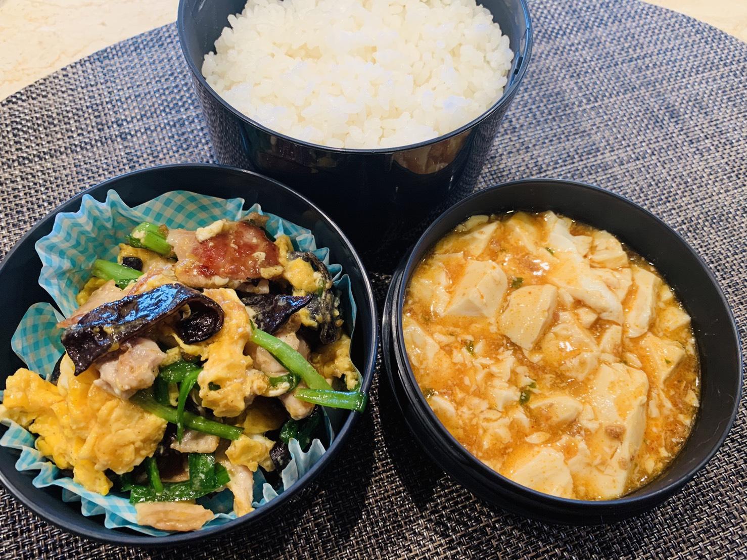 「豚ニラ玉&麻婆豆腐弁当」【連載企画】今江サチコさんの今月のアスリート弁当